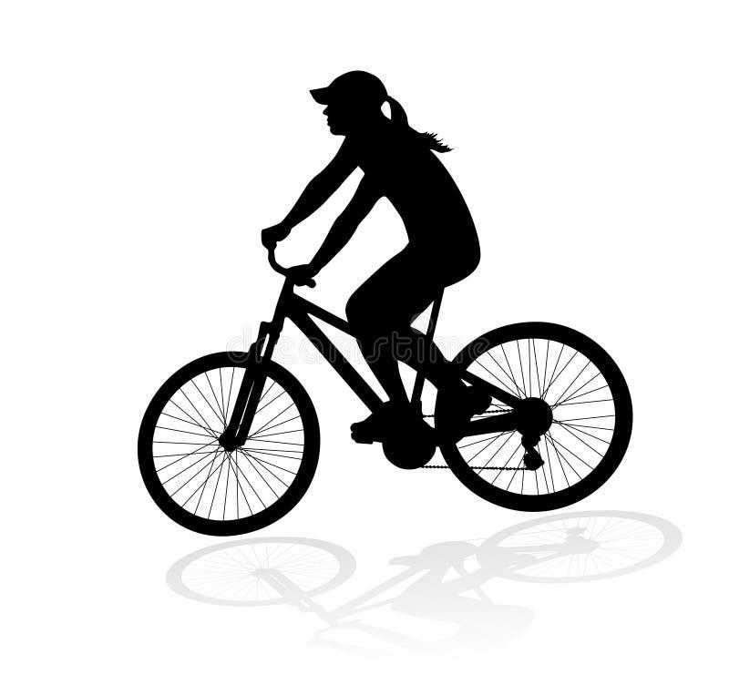 Silhueta da mulher do ciclista ilustração do vetor