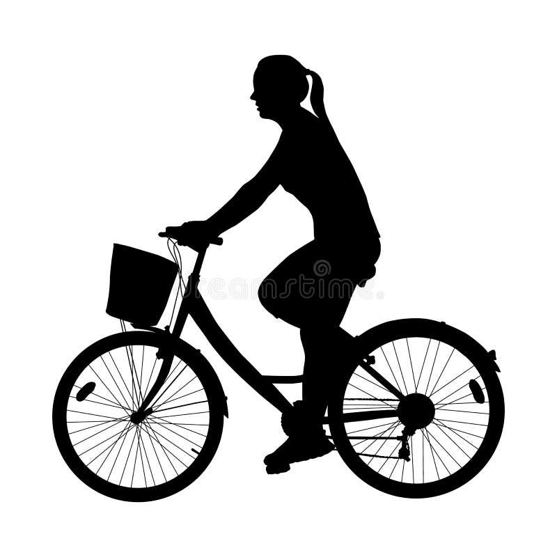 Silhueta da mulher do ciclista isolada no vetor branco do fundo ilustração royalty free