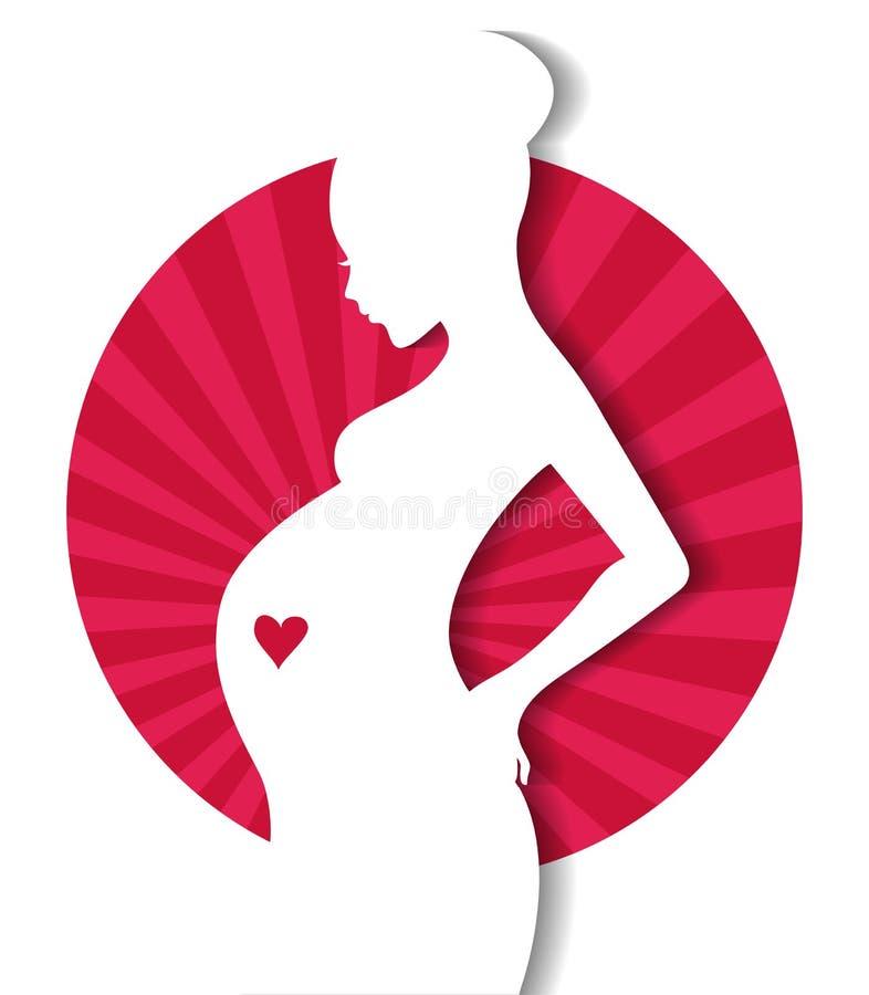 A silhueta da mulher gravida ilustração do vetor