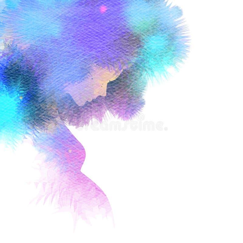 Silhueta da mulher gravida mais a aquarela abstrata ilustração stock