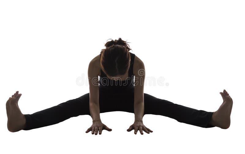 Silhueta da mulher, pose dianteira assentada da curvatura, ioga fotos de stock