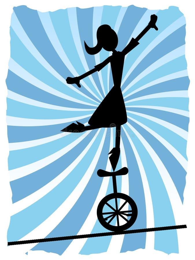 Silhueta da mulher que balança no unicycle na corda ilustração stock