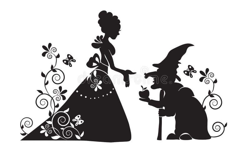 A silhueta da neve branca e da bruxa má ilustração royalty free