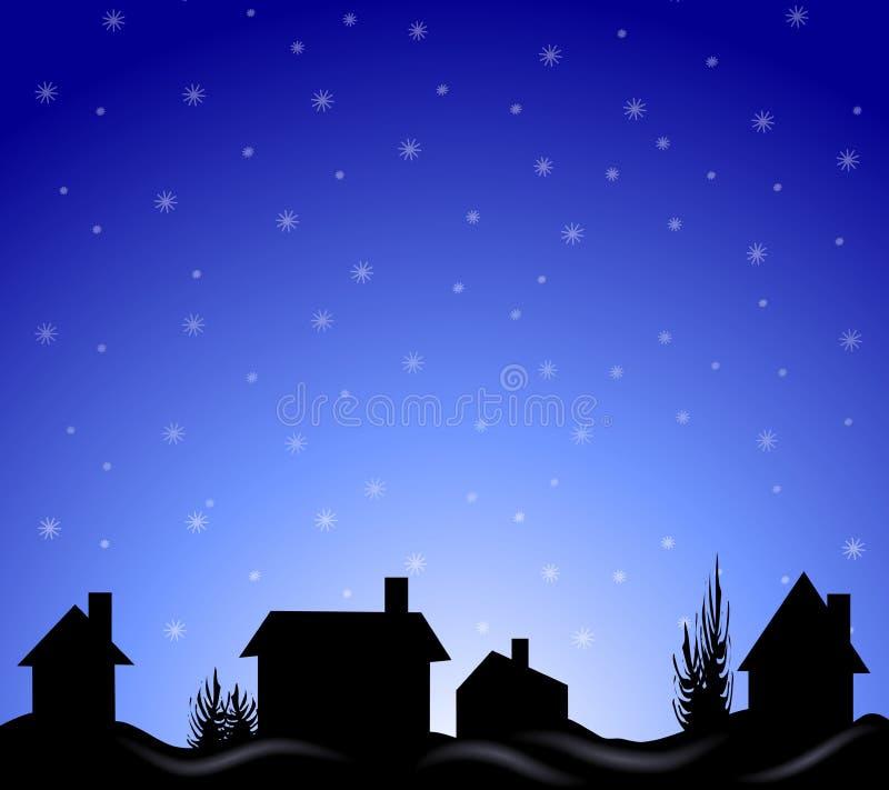 Silhueta da noite do por do sol do inverno ilustração royalty free