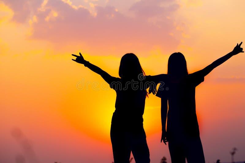 Silhueta da opinião feliz do por do sol da amizade do amigo de duas meninas foto de stock
