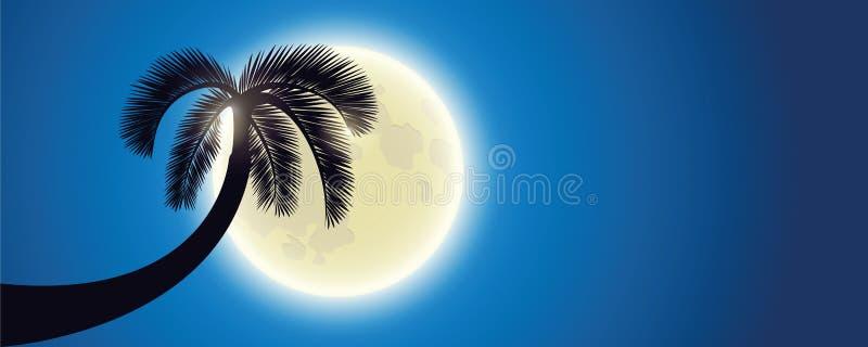 Silhueta da palma pela Lua cheia ilustração do vetor