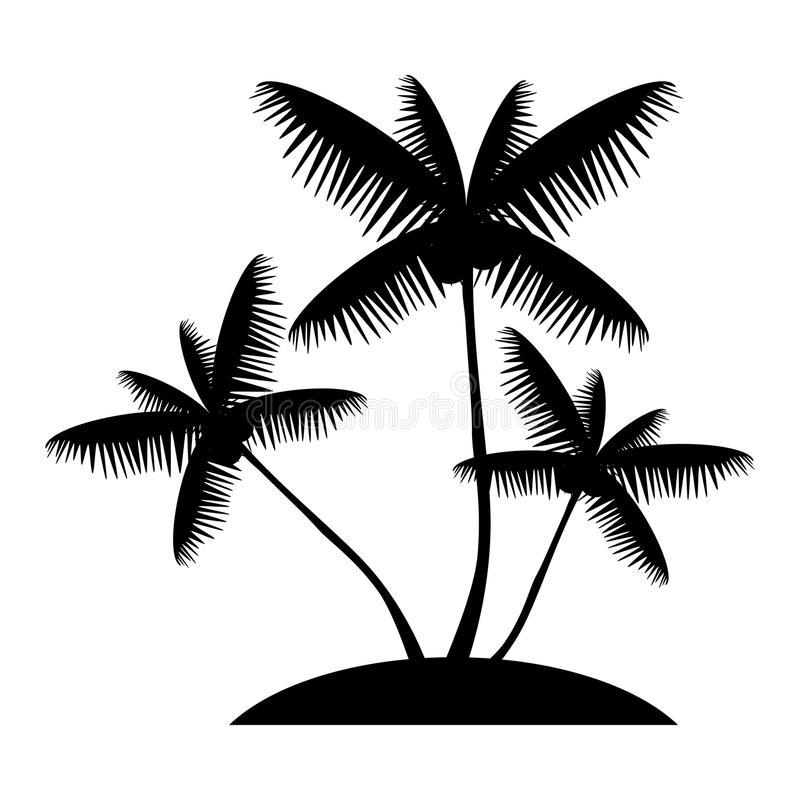Silhueta da palmeira do coco ilustração do vetor