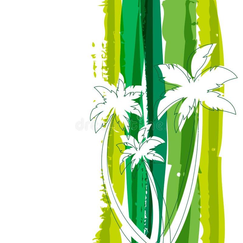 Silhueta da palmeira e sagacidade do fundo da aquarela das listras do verde ilustração do vetor