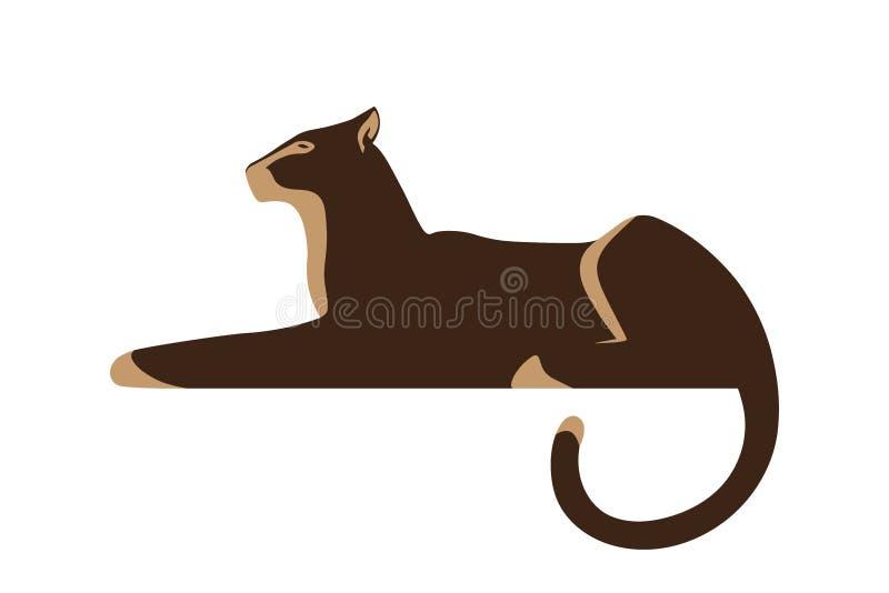 Silhueta da pantera no fundo branco ilustração royalty free