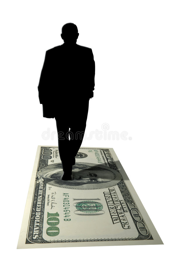 Silhueta da pessoa ávida de dinheiro ilustração stock
