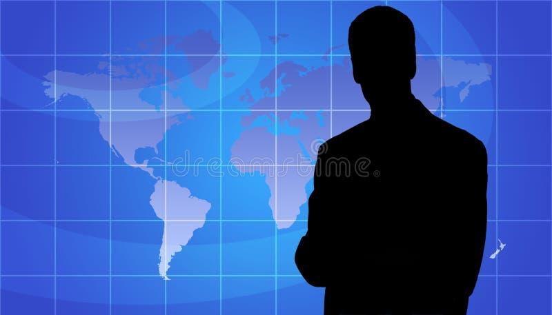 Silhueta da pessoa do negócio, fundo do mapa de mundo imagens de stock royalty free