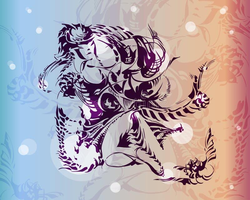 A silhueta da quimera é tirada com tinta ilustração royalty free
