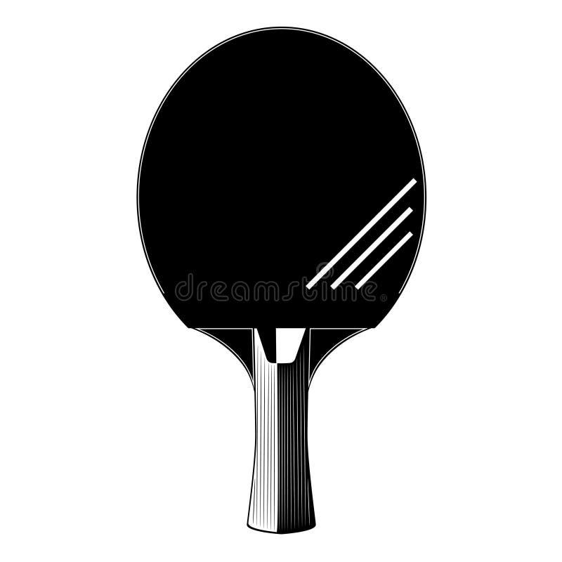 Silhueta da raquete do tênis de mesa ou do tênis de mesa, ilustração do vetor ilustração stock