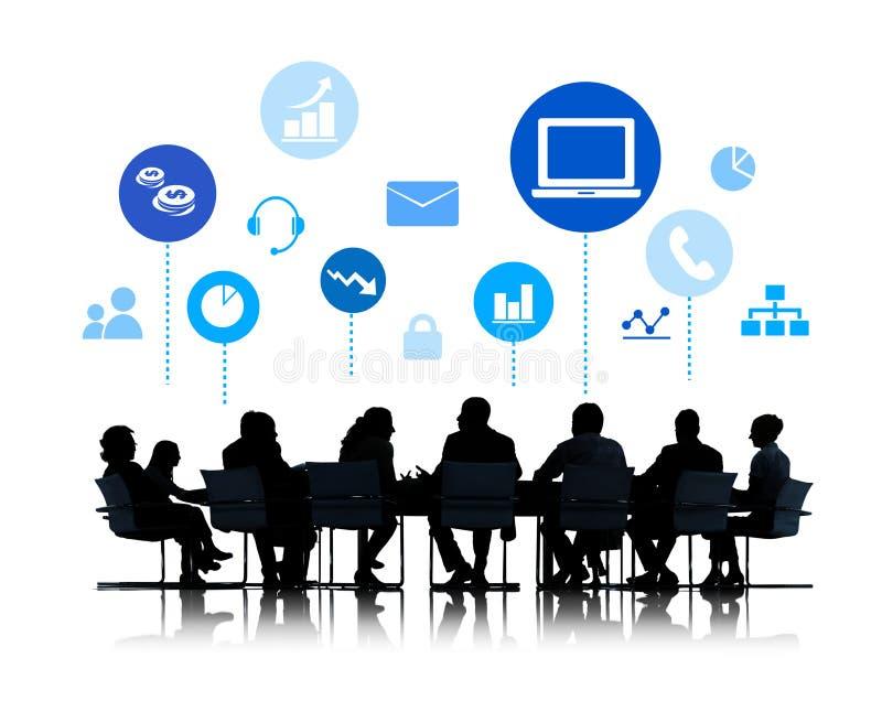 Silhueta da reunião de negócios com Infographic ilustração stock