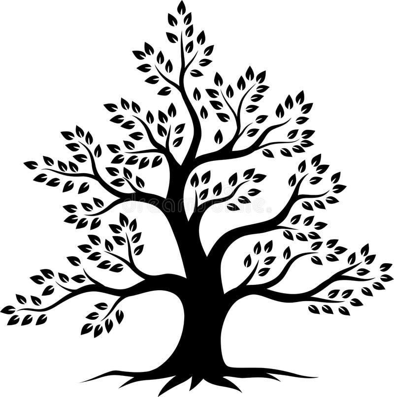 Silhueta da ?rvore no fundo branco ilustração royalty free