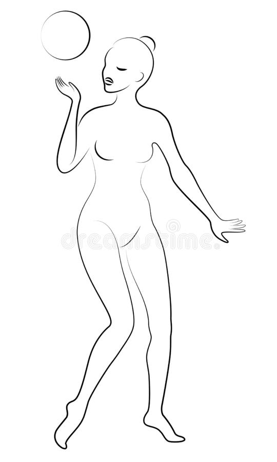 Silhueta da senhora delgada A menina joga a bola Imagem gr?fica da ginasta f?mea Ilustra??o do vetor ilustração stock