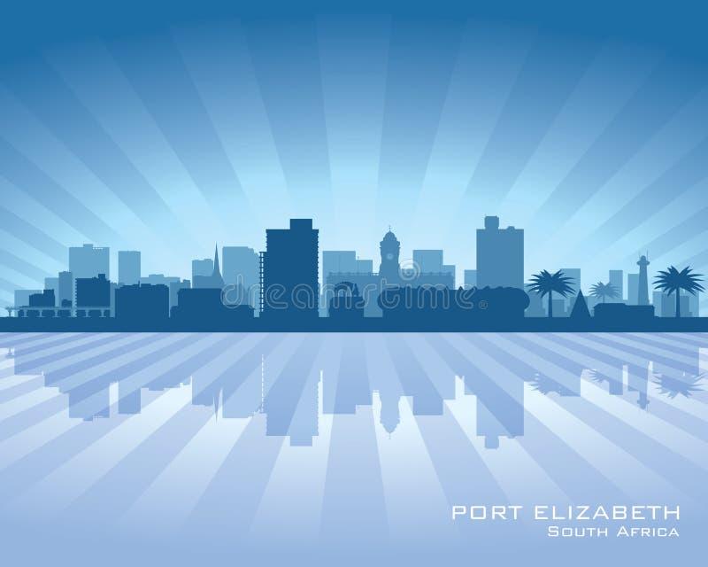 Silhueta da skyline da cidade de Elizabeth South Africa do porto ilustração stock
