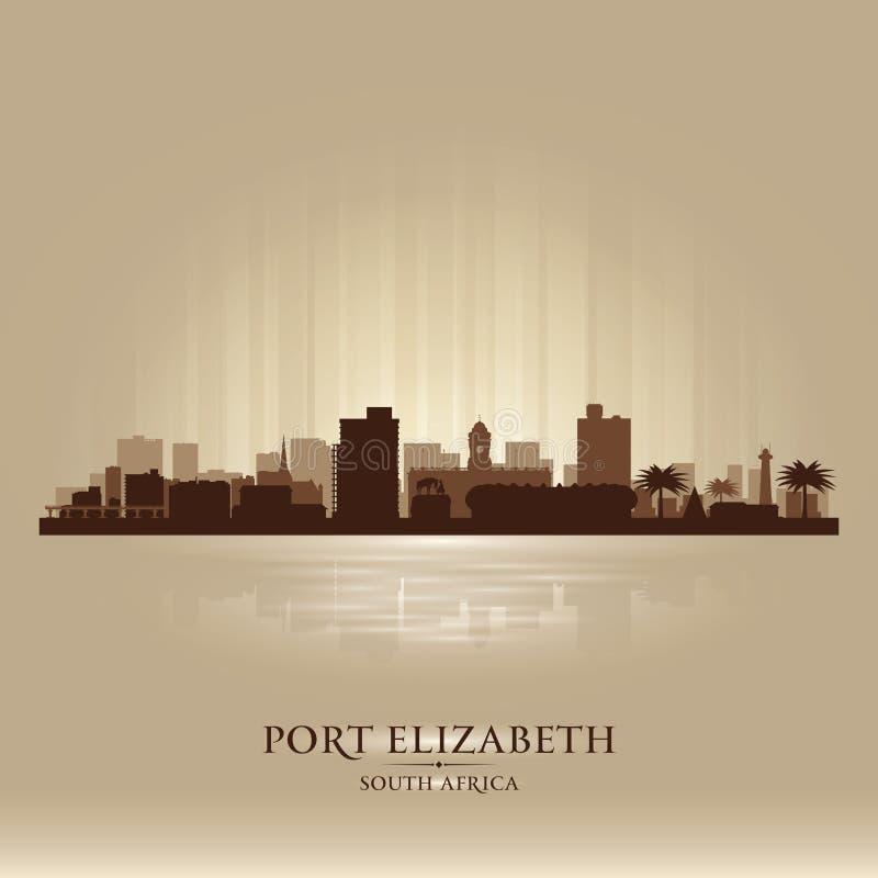 Silhueta da skyline da cidade de Elizabeth South Africa do porto ilustração royalty free