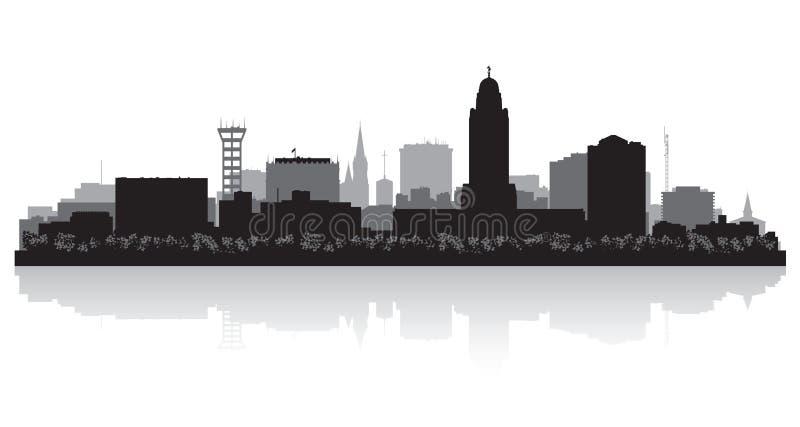 Silhueta da skyline da cidade de Lincoln Nebraska ilustração stock