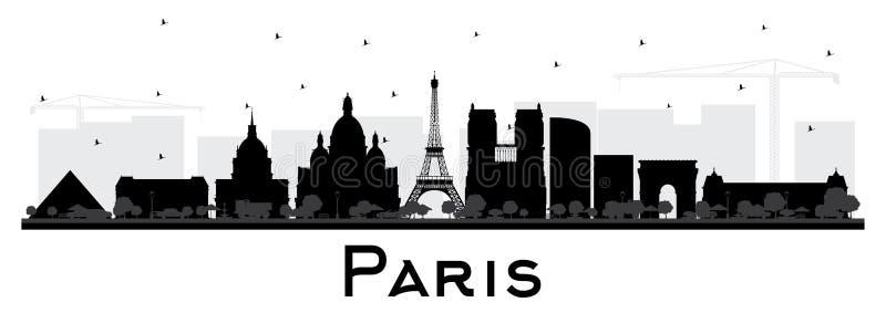 Silhueta da skyline da cidade de Paris França com as construções pretas isoladas no branco ilustração stock