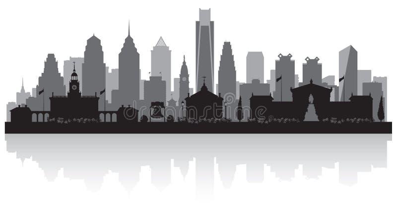 Silhueta da skyline da cidade de Philadelphfia Pensilvânia ilustração stock