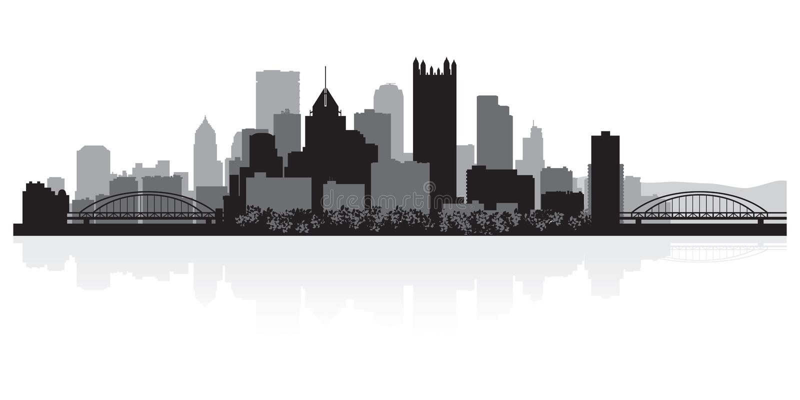 Silhueta da skyline da cidade de Pittsburgh Pensilvânia ilustração stock