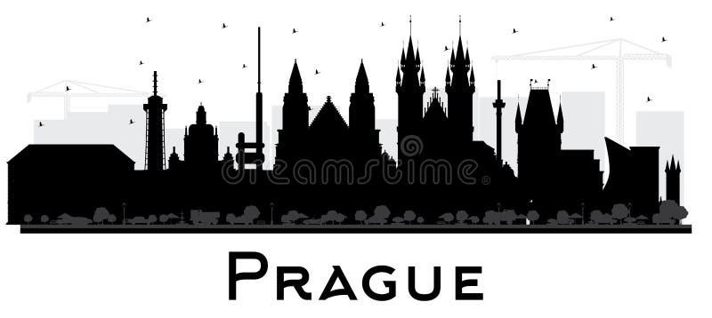 Silhueta da skyline da cidade de Praga República Checa com as construções pretas isoladas no branco ilustração royalty free