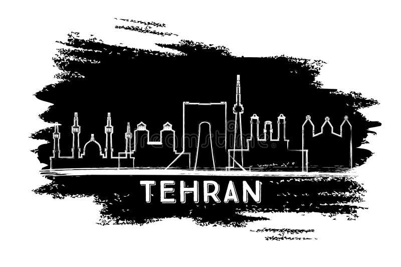 Silhueta da skyline da cidade de Tehran Irã Esboço desenhado mão ilustração royalty free