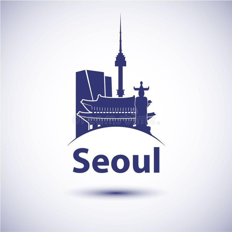 Silhueta da skyline da cidade de Coreia do Sul Seoul ilustração do vetor