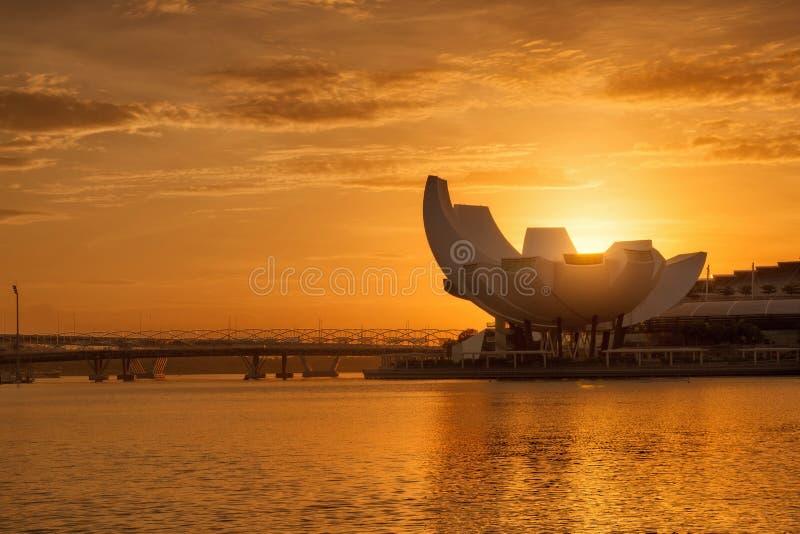 Silhueta da skyline da cidade de Singapura imagem de stock
