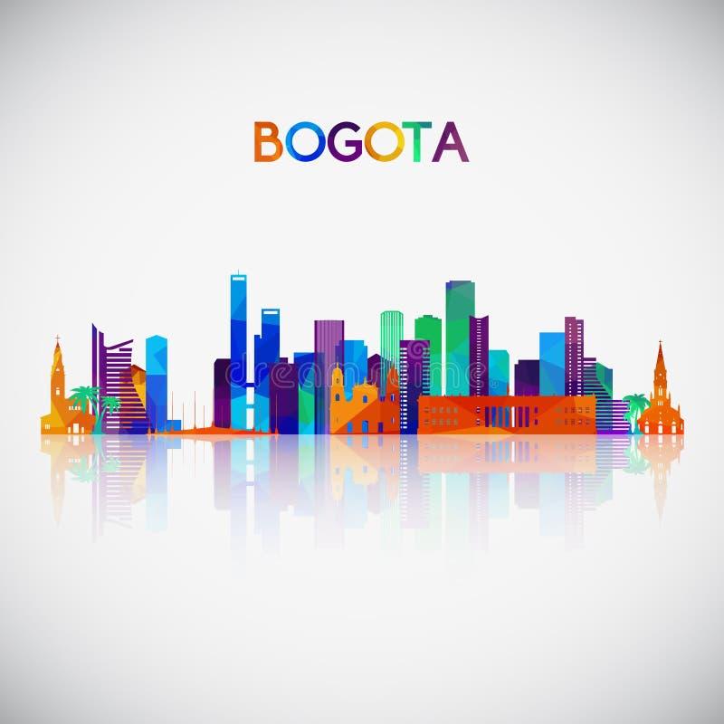 Silhueta da skyline de Bogotá no estilo geométrico colorido ilustração stock