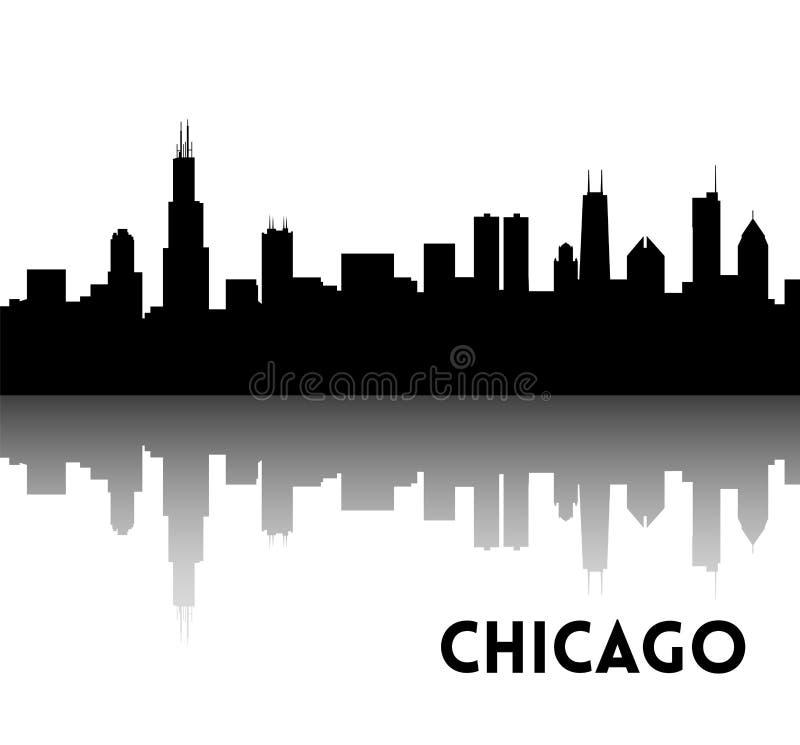 Silhueta da skyline de Chicago ilustração stock