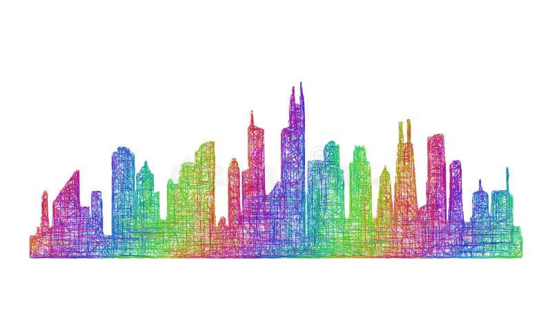 Silhueta da skyline de Chicago - linha arte multicolorido ilustração do vetor