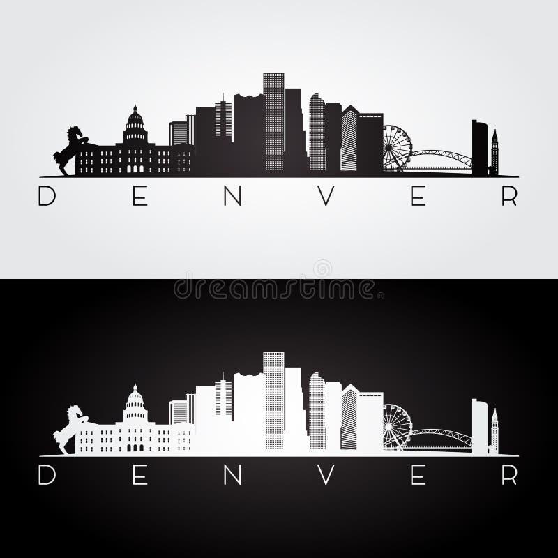 Silhueta da skyline de Denver ilustração stock
