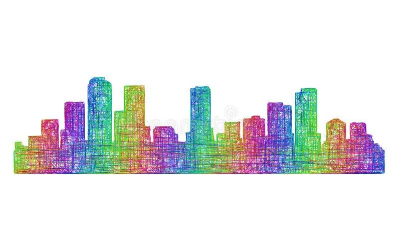 Silhueta da skyline de Denver - linha arte multicolorido ilustração do vetor
