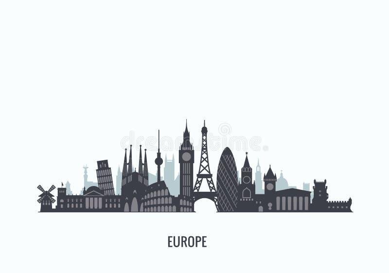 Silhueta da skyline de Europa ilustração stock