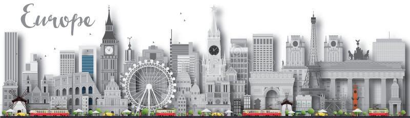 Silhueta da skyline de Europa com marcos diferentes ilustração stock