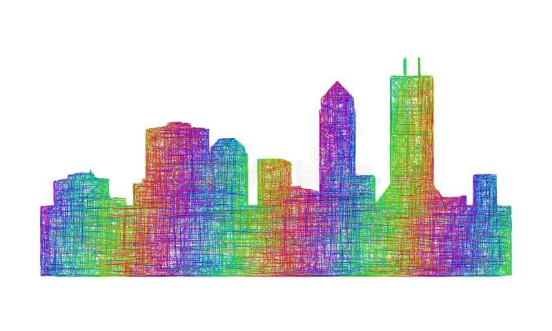 Silhueta da skyline de Jacksonville - linha arte multicolorido ilustração stock