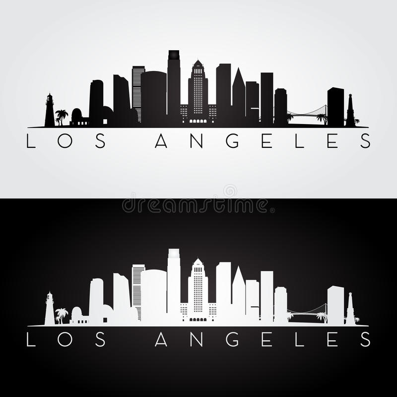 Silhueta da skyline de Los Angeles ilustração do vetor