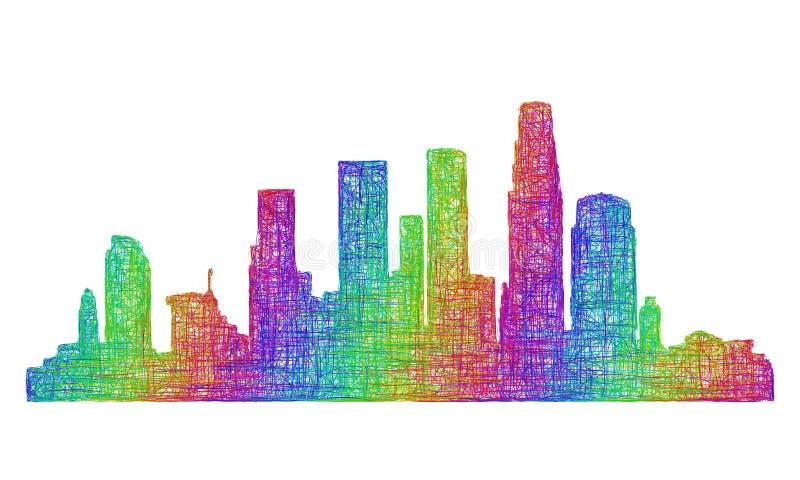 Silhueta da skyline de Los Angeles - linha arte multicolorido ilustração do vetor
