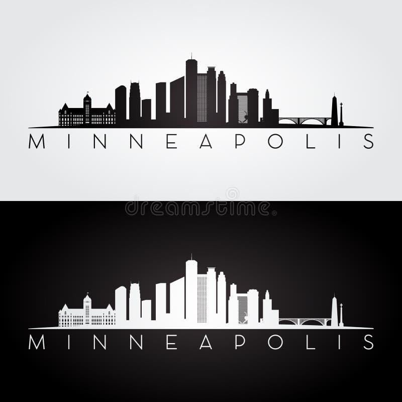 Silhueta da skyline de Minneapolis ilustração stock