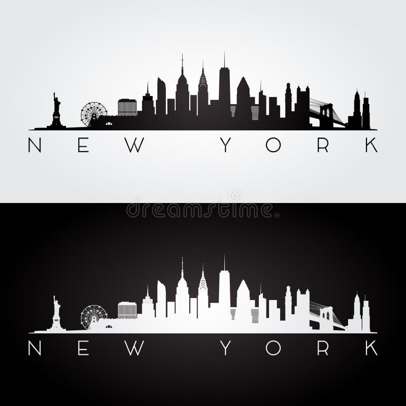 Silhueta da skyline de New York ilustração stock