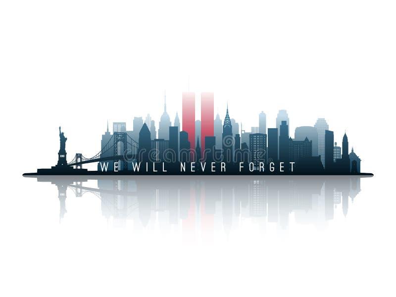 Silhueta da skyline de New York com torres gêmeas ilustração do vetor