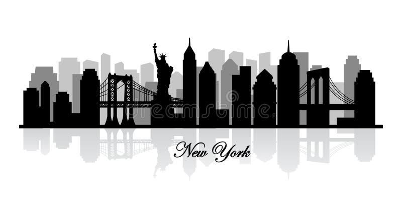 Silhueta da skyline de New York do vetor imagens de stock