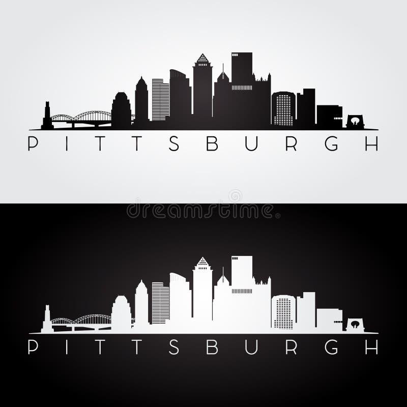 Silhueta da skyline de Pittsburgh ilustração royalty free