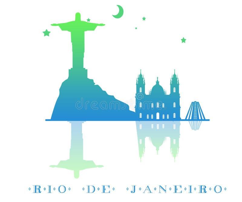 Silhueta da skyline de Rio de janeiro com inclinação da cor projeto do vetor da cidade Isolado em um fundo branco ilustração do vetor