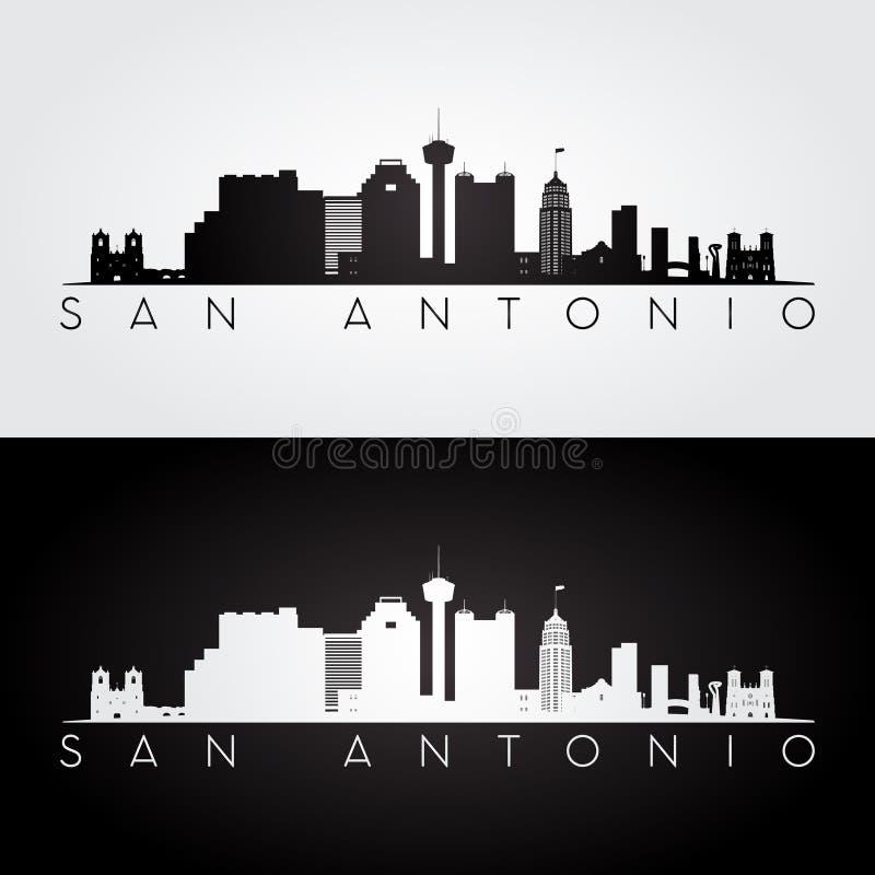 Silhueta da skyline de San Antonio ilustração do vetor