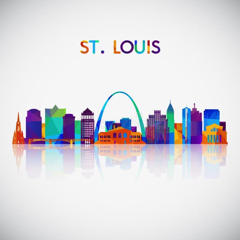 Silhueta da skyline de StLouis no estilo geométrico colorido ilustração do vetor