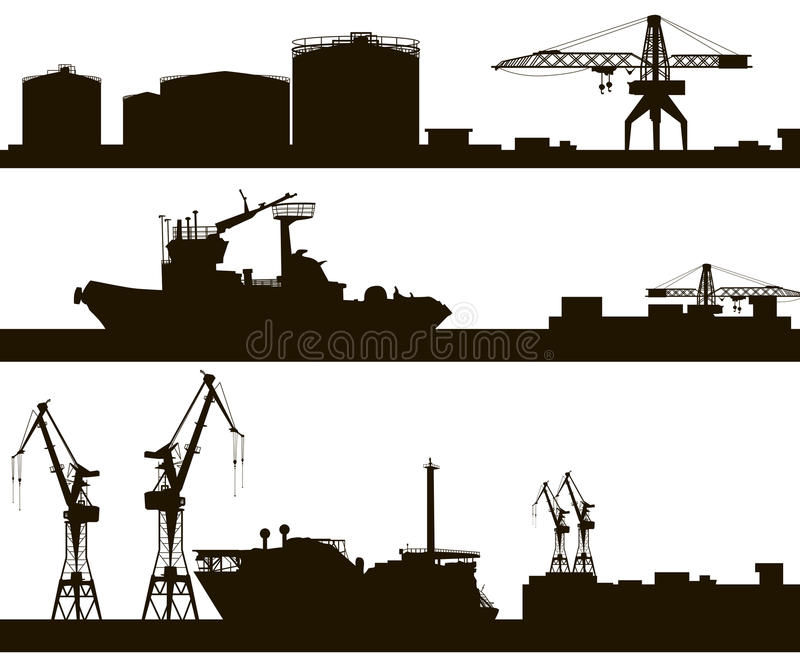Silhueta da skyline do porto ilustração royalty free