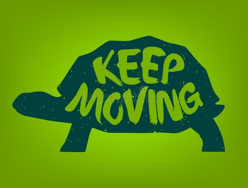 A silhueta da tartaruga com texto da rotulação mantém-se mover-se Etiqueta colorida vetor ilustração stock